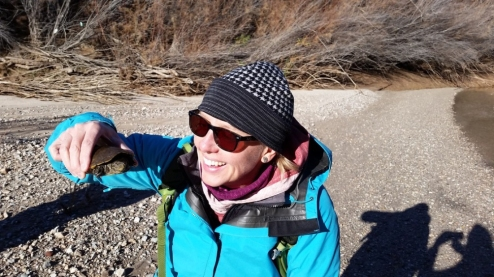 Amy Orchard with a Sonoyta mud turtle. Photo: ASDM/Marie Long