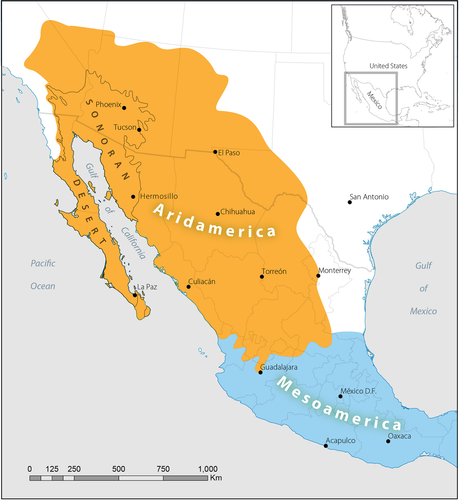 "A map showing the dry regions of North America called ""Aridamerica"" in yellow including the Sonoran Desert area, and the beginnings of Mesoamerica shown in blue."
